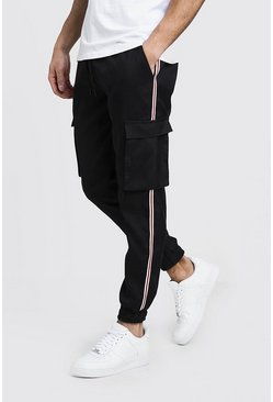 Mens Black Cuffed Cargo Trouser With Tape