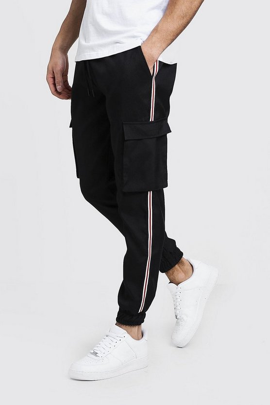 Cuffed Cargo Pants With Tape