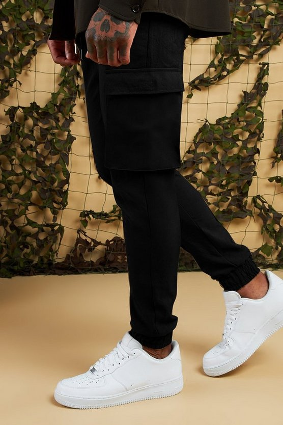 Mens Black Cargo Trousers With Cuff