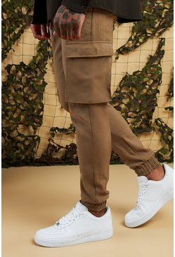 Mens Stone Cargo Trousers With Cuff