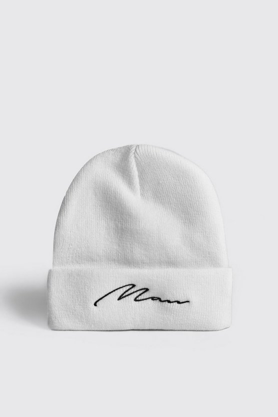 Mens White MAN Script Embroidered Beanie