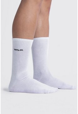 "Valentinstag Sportsocken mit ""You'll Do""-Stickerei, Weiß"