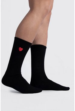 Black Valentines Heart Embroidered Sport Sock