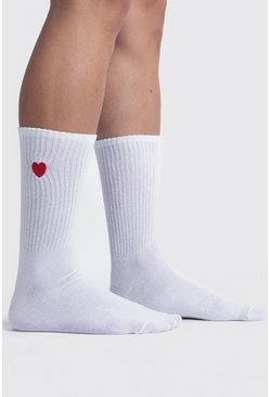 White Valentines Heart Embroidered Sport Sock
