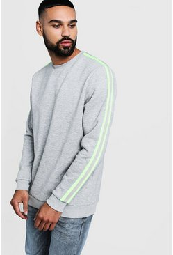 Mens Grey Neon Side Tape Detail Sweater