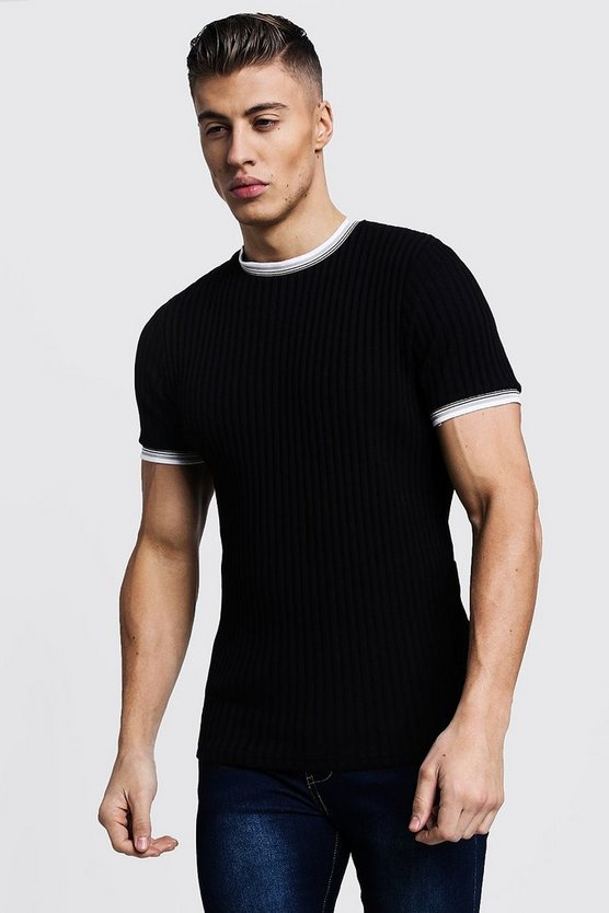 Mens Black Ribbed Crew Neck Tee With Sleeve & Collar Tipping