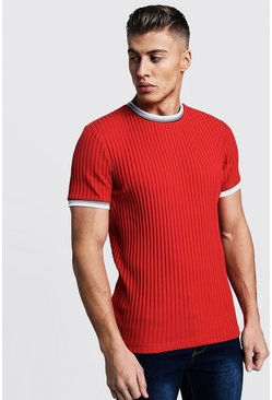 Mens Red Ribbed Crew Neck Tee With Sleeve & Collar Tipping