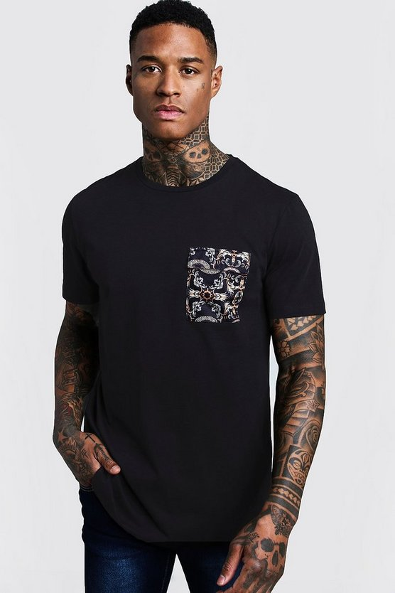 Longline Curved Hem Tee With Baroque Print Pocket