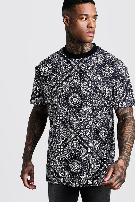 Oversized High Neck Bandana Print Tee