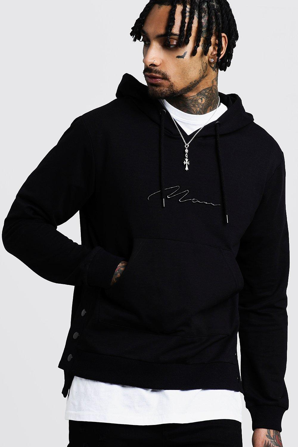 MAN Embroidered Hoodie With Step Hem