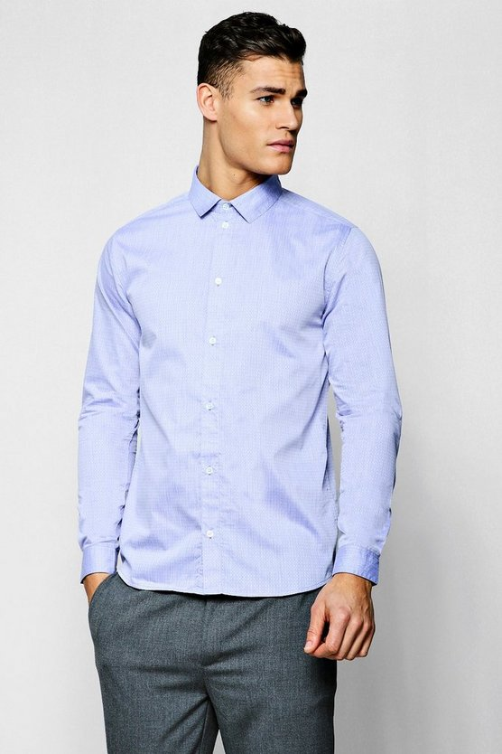 Jacquard Dot Long Sleeve Smart Shirt