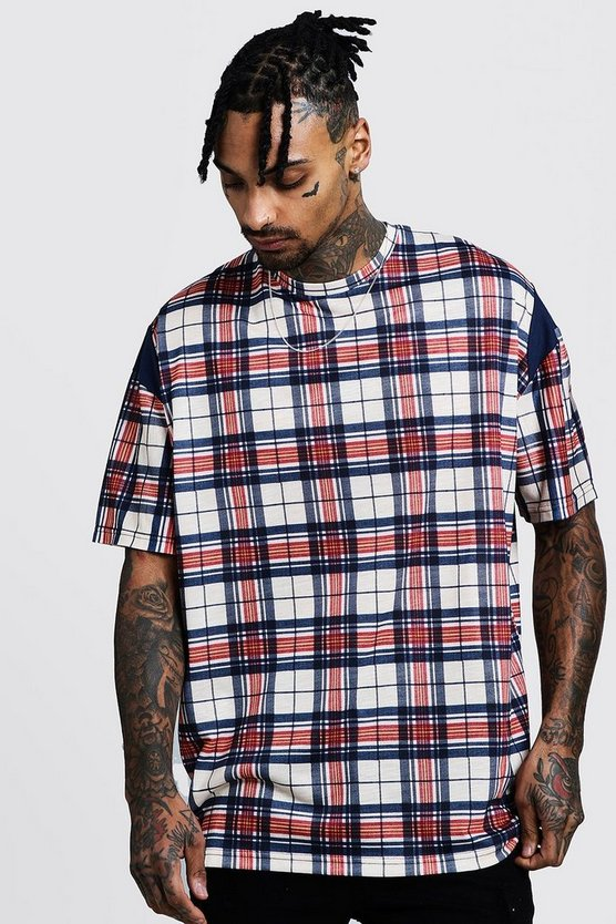 Oversized Check T-Shirt With Navy Panel