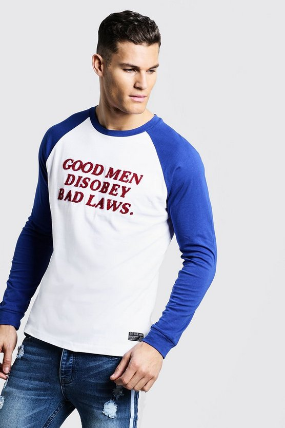 Long Sleeve Raglan T-Shirt With Towelling Letters