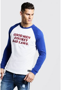 Mens White Long Sleeve Raglan T-Shirt With Towelling Letters