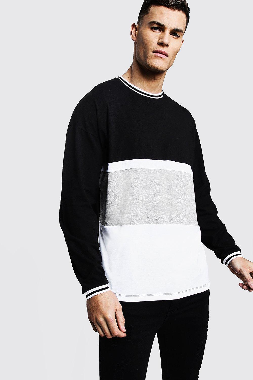 Long Sleeve Colour Block Tee With Stripe Cuffs