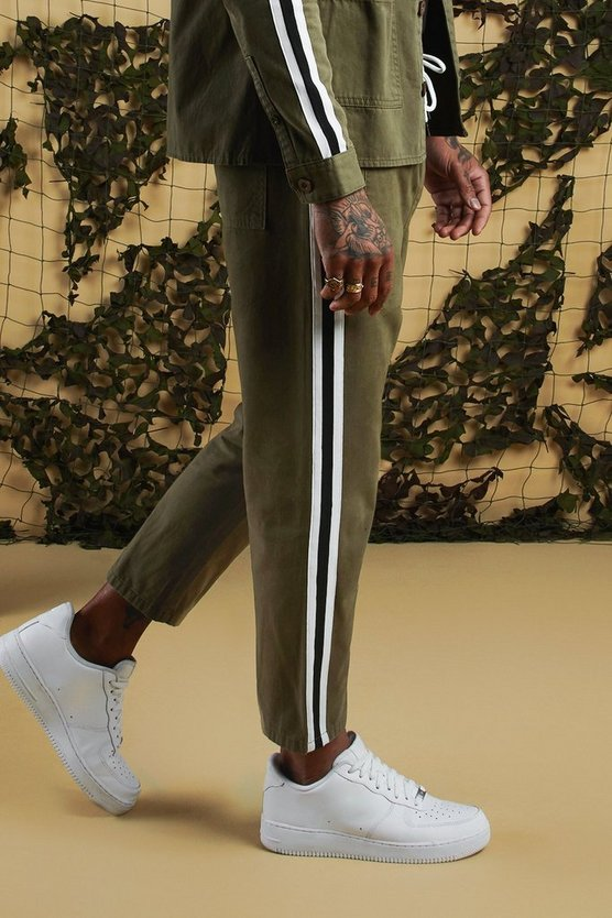 Mens Khaki Jogger Chino With Side Tape