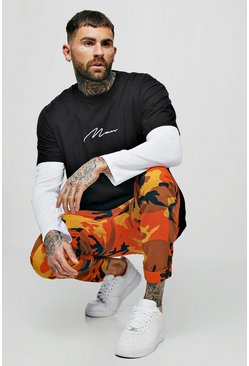 Mens Orange Drawstring Camo Print Chino Pants