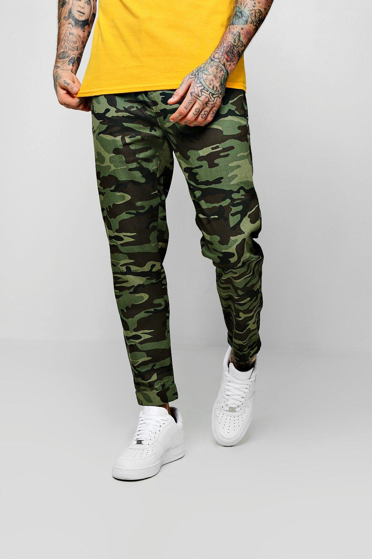 Drawstring Camo Print Chino Trouser
