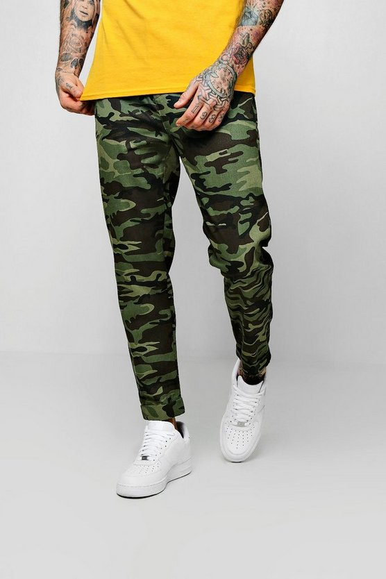 Drawstring Camo Print Chino Pants