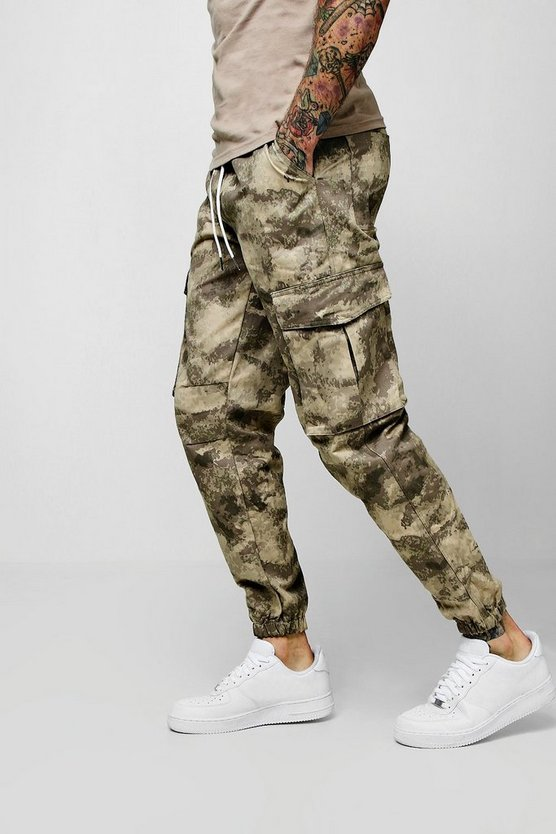 Mens Taupe Blurred Camo Print Cargo Pants