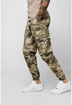 Mens Taupe Blurred Camo Print Cargo Trouser