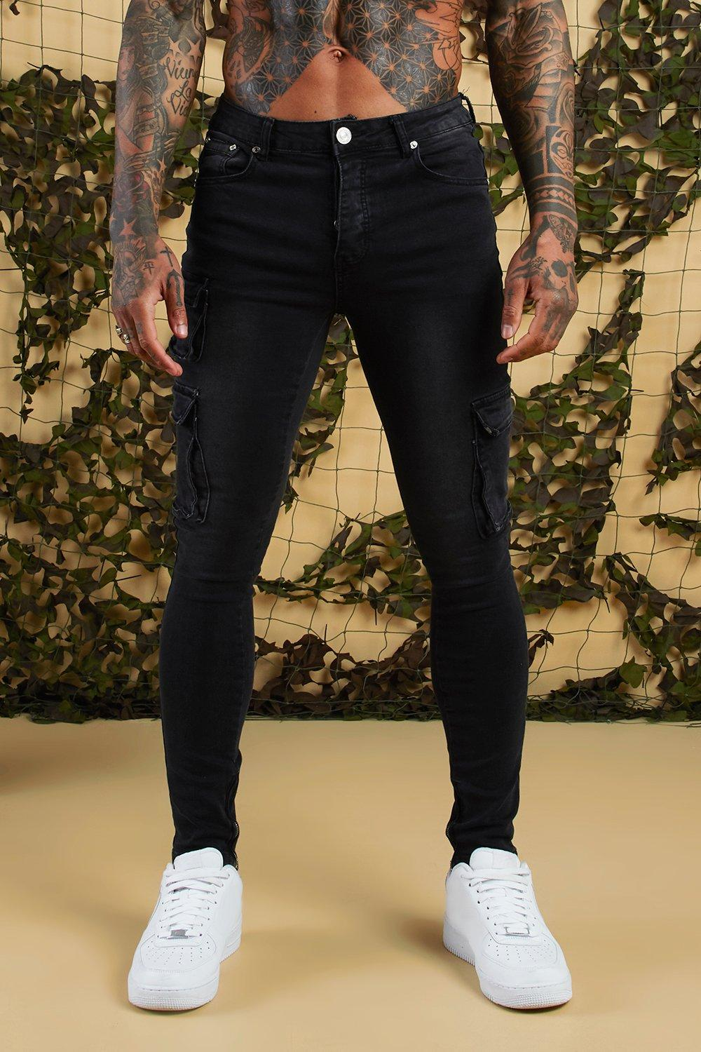 Super Skinny Cargo Jeans With Zipped Cuff