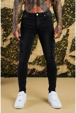 Mens Charcoal Super Skinny Cargo Jeans With Zipped Cuff