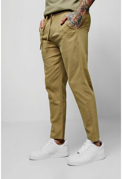 Mens Sand Drawcord Waist Slim Fit Chino Trouser
