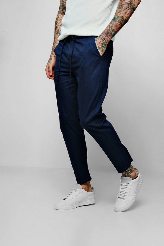 Mens Navy Drawcord Waist Slim Fit Chino Trouser