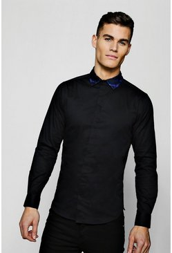 Mens Black Muscle Fit Long Sleeve Shirt With Jacquard Collar
