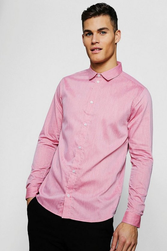 Red Textured Oxford Dobby Long Sleeve Smart Shirt