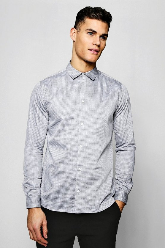 Textured Oxford Dobby Long Sleeve Smart Shirt