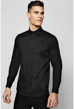 Mens Black MAN Gold Embroidered Muscle Fit Shirt