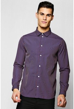 Mens Navy Jacquard Stripe Long Sleeve Smart Shirt