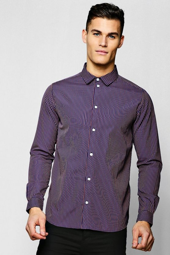 Jacquard Stripe Long Sleeve Smart Shirt