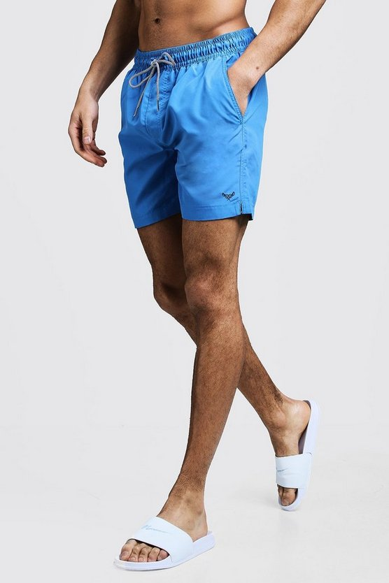 Mens Blue Mid Length Swim Short With Stripe Drawcord