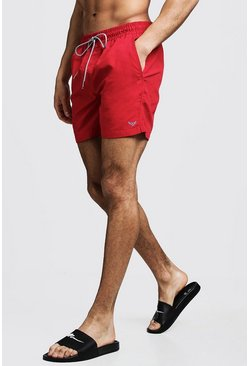 Mens Red Mid Length Swim Short With Stripe Drawcord