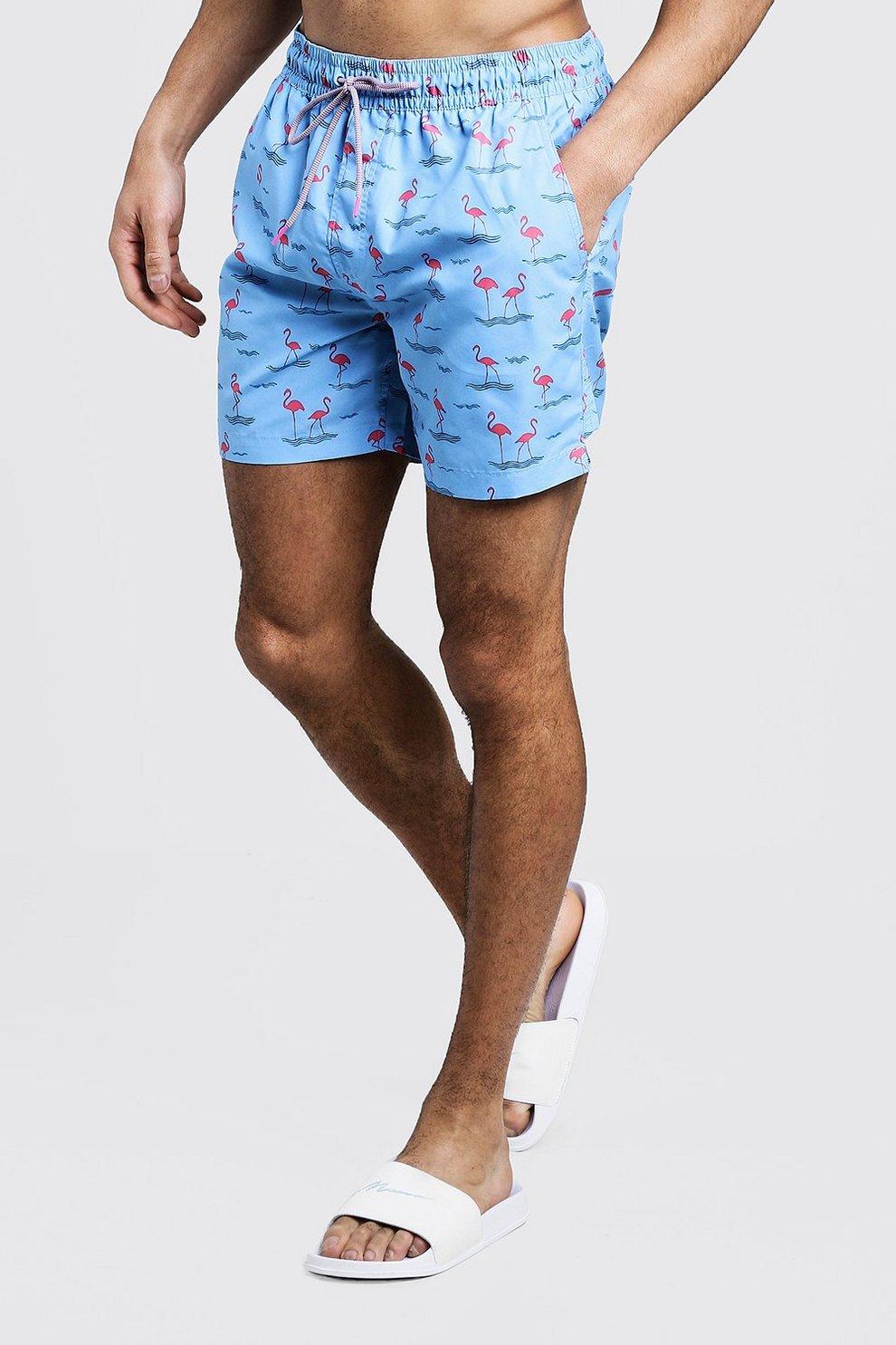 5e47805fe7 Mid Length Flamingo Print Swim Shorts | Boohoo