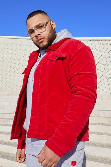Mens Red Big and Tall Fully Borg Lined Cord Jacket