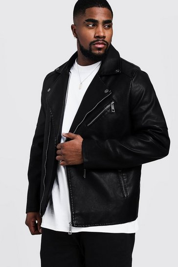 Mens Black Big and Tall Faux Leather Biker Jacket
