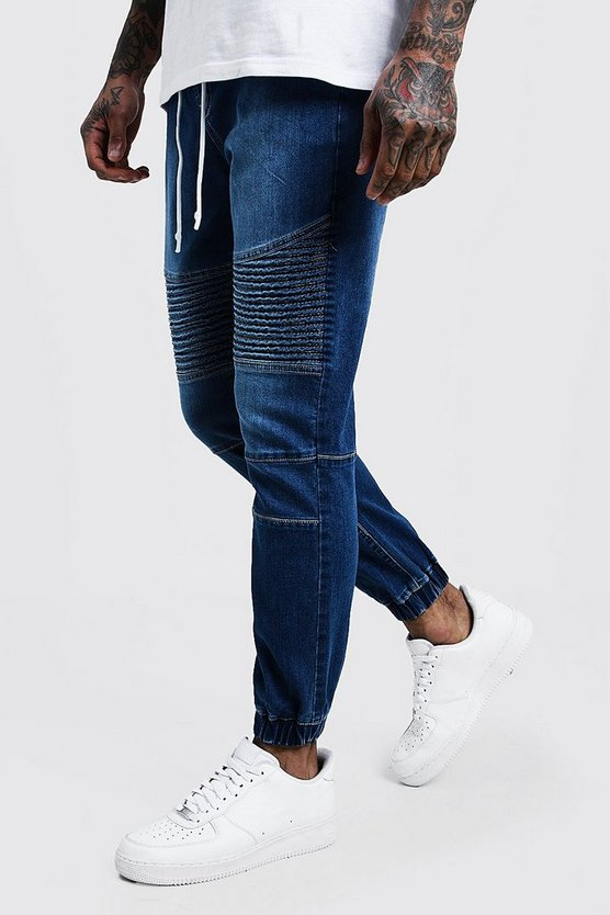 Mid blue Skinny Fit Jersey Denim Cuffed Biker Joggers
