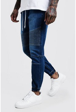 Mens Mid blue Skinny Fit Jersey Denim Cuffed Biker Joggers