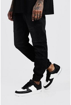 Mens Washed black Skinny Fit Jersey Denim Cuffed Biker Joggers