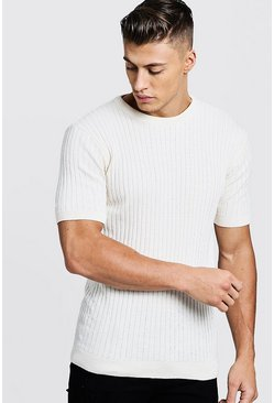 White Muscle Fit Short Sleeve Ribbed Knitted T-Shirt