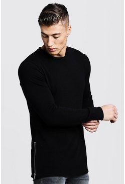 Mens Black Crew Neck Knitted Side Zip Jumper