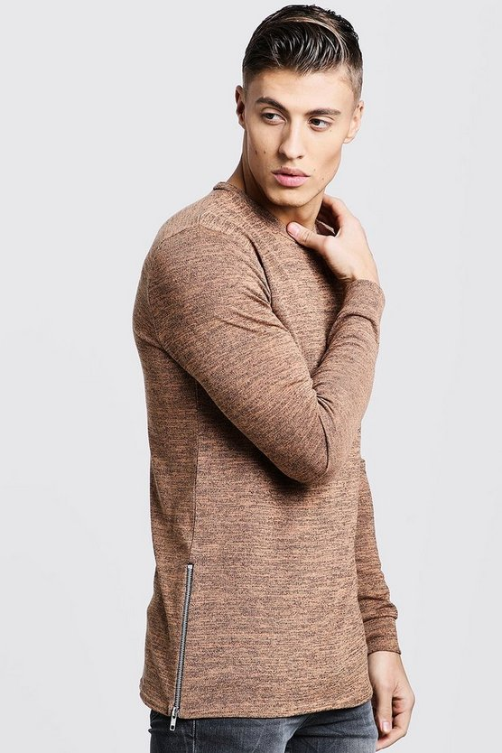 Mens Camel Crew Neck Knitted Side Zip Jumper