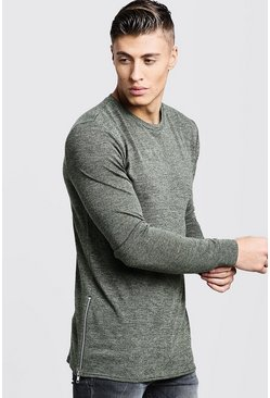 Mens Khaki Crew Neck Knitted Side Zip Sweater