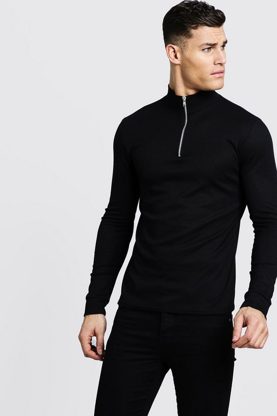 Mens Black Ribbed Long Sleeve Funnel Neck Jumper