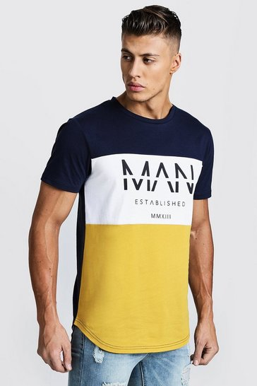 Mens Mustard Colour Block MAN T-Shirt With Curve Hem
