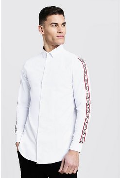 Mens White Long Line Step Hem Shirt With MAN Tape